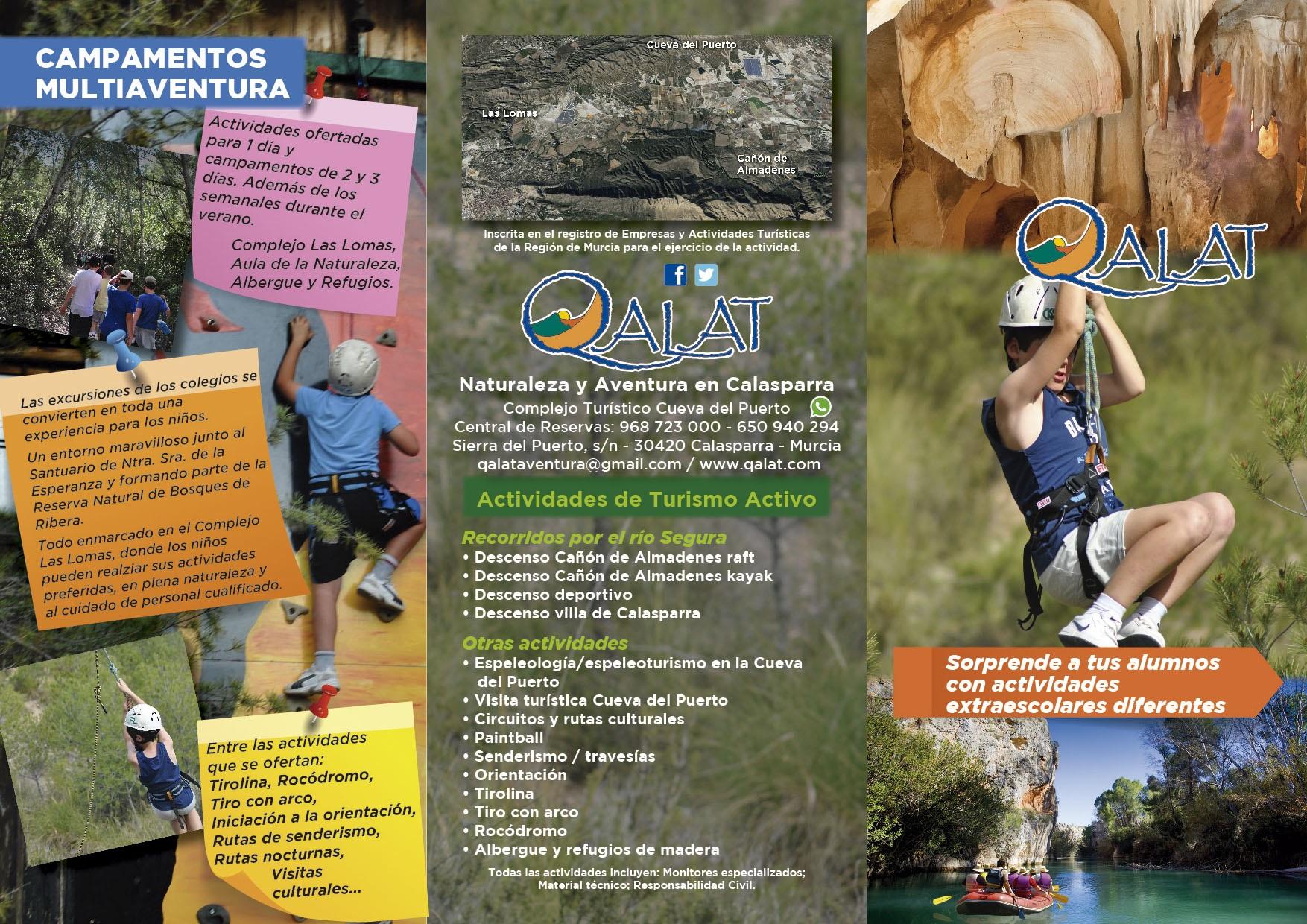 Folleto actividades en la naturaleza para colegios